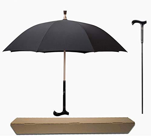NJSDDB paraplu Mannen Paraplu Creatieve Riet Klimmen Paraplu Lange Handvat Paraplu Mannelijke Antislip wandelstok Mannelijke Winddichte Paraplu's Regenkleding, koffie met doos