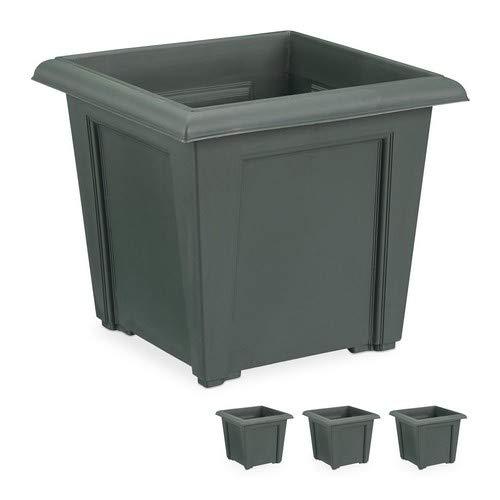 Relaxdays Pflanzkübel, 4er Set, quadratisch, außen u. innen, Kunststoff, Pflanztopf, Füllmenge 5 Liter Erde, anthrazit