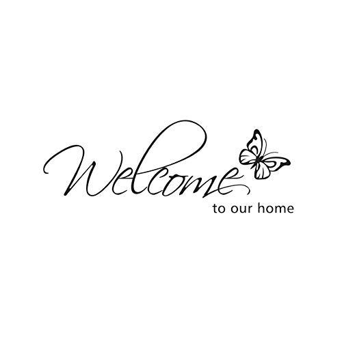 Etiquetas engomadas de la pared del hogar, bienvenido a nuestro hogar mariposa etiqueta de la pared DIY decoración del hogar arte decoración de la mariposa pegatinas de pared