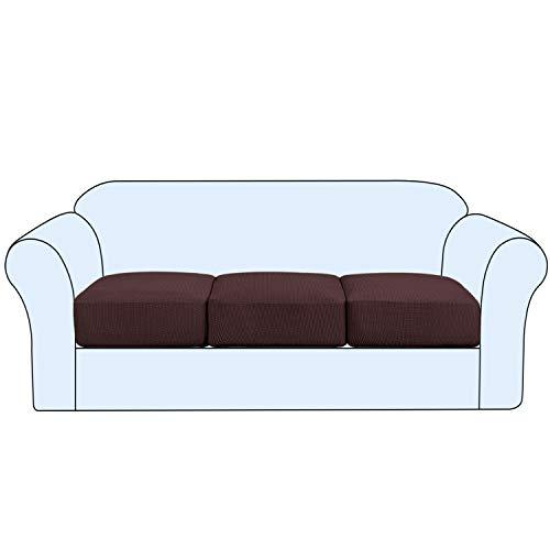 High Stretch Sofa Cushion Cover Set of 3, High Stretch Sofa Seat Slipcovers Couch Cushion Cover 3 Seaters Furniture Protector with Elastic Bottom (3-Piece Sofa Cushion, Brown)