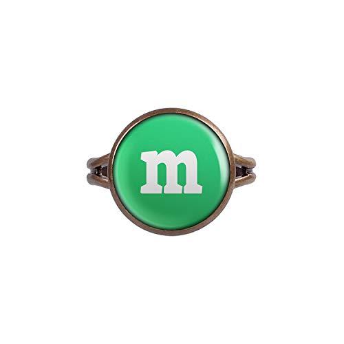Mylery Anillo con Motivo Letra m Verde Bronce Diferentes tamaños