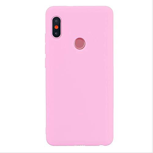 cuzz Funda para Xiaomi Redmi Note 6 Pro+{Protector de Pantalla de Vidrio Templado} Carcasa Silicona Suave Gel Rasguño y Resistente Teléfono Móvil Cover-Rosa Oscuro