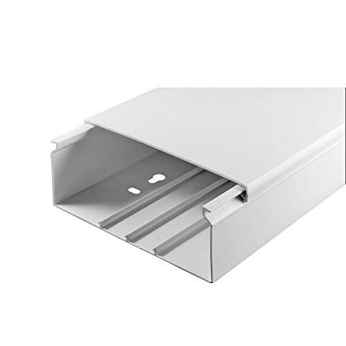 SCOS Smartcosat Kabelkanal (100 x 40 x 2000 mm (5 Stück a 2 m) B x H x L, Weiß/Weiss/Reinweiß) schraubbar PVC Kunststoff, Aufputz für Wand Montage allzweck Kabelleiste, Kabelschacht