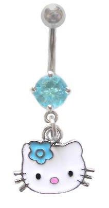 Hello Kitty Head Face w/Aqua Flower dangle Belly navel Ring piercing bar body jewelry 14g