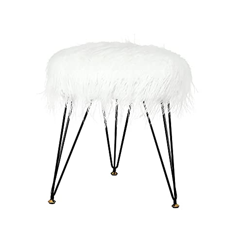 Joveco 16' Faux Fur Stool Ottoman Elegant- Modern Fur Foot Stool- Vanity Stools for Bedroom and Living Room- Fluffy Stool Accent Furniture with Metal Legs (Elegant White)