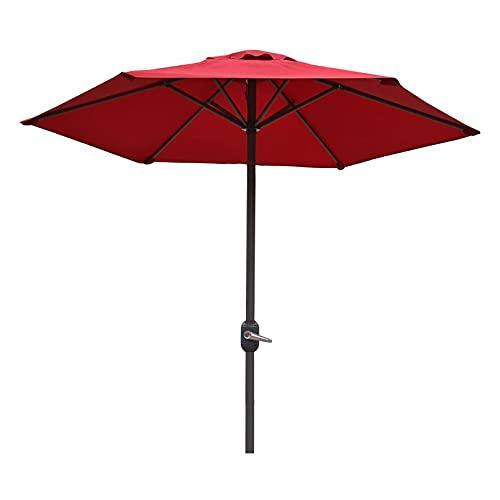 WUDAXIAN Paraguas De Patio con Varilla De 7.7 Pies Y 6 Piezas con Manivela UV70 + Paraguas De Hierro con Columna De Acero para Jardín, Césped, Terraza, Patio Trasero Y Piscina,Rojo