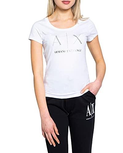 ARMANI EXCHANGE Strass Logo T-Shirt, Bianco (Optic White 1000), X-Large Donna