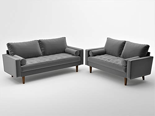 Container Furniture Direct Mid Century Modern Velvet Upholstered Button Tufted Living Room Sofa, 2 Piece Set, Grey