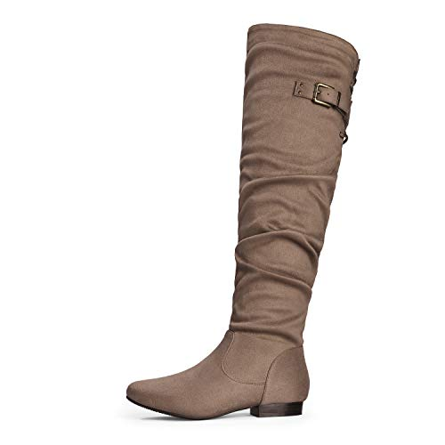 DREAM PAIRS Women's Colby Khaki Over The Knee Pull On Boots - 9.5 M US