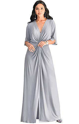 KOH KOH Plus Size Womens Long Sexy V-Neck Short Sleeve Cocktail Evening Bridesmaid Wedding Party Slimming Casual Summer Maxi Dress Dresses Gown Gowns, Silver Light Gray 3XL 22-24