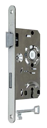 BKS Standard Zimmertürschloss/Türschloss mit Buntbart 55/72/8, Stulp: 20 x 235mm abgerundet, DIN Links incl. SN-TEC® Montageset