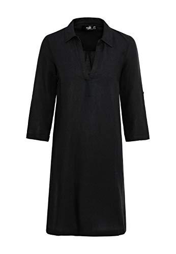 HALLHUBER Leinenkleid mit Perlmuttknöpfen weit geschnitten schwarz, 36