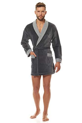 L&L - 9101 Peignoir Court de Luxe en Tissu éponge pour Hommes. Extrêmement Léger. Robe de Chambre pour Hommes. (Graphite, M)