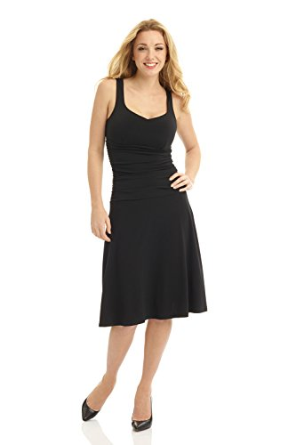 Rekucci Women's Sleeveless Fit and Flare Tummy Control Dress with Sweetheart Neckline (2,Black)