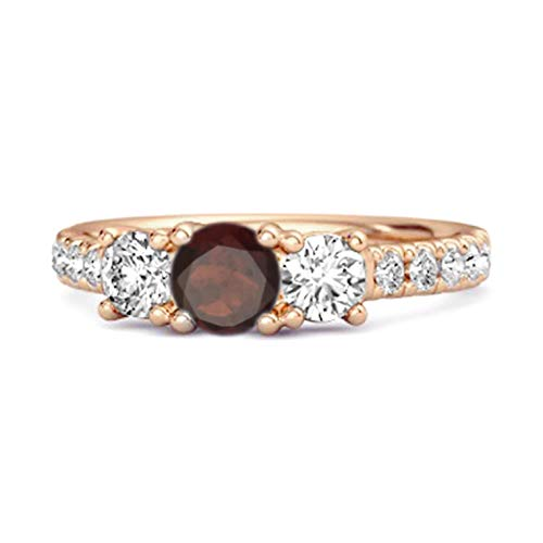Shine Jewel Multi Elija su Piedra Preciosa Anillo de Compromiso Chapado en Oro Rosa de Plata de Ley 925 de 0,25 Quilates de Corte Redondo (9, Granate)