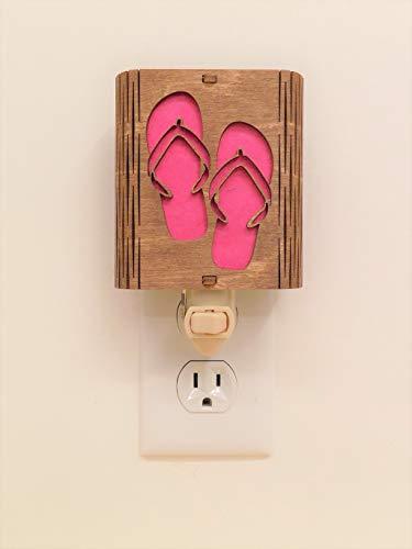 Flip Flops Night Light, Vermont Lamps Night Light, Hand Made, Wooden, Pink Flip Flops, Ideal for Bedroom, Hallway, Baby's Room, Bathroom, Nursery, Long Lasting LED Bulb
