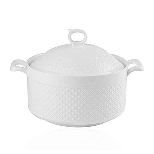 Double Handle Lid Pure White Ceramic Tureen Soup Ceramic Round White Dish Casserole/Clay Pot/Earthen Pot/Ceramic Cookware with White Lid Heat-Resistant for Gift Box (7 inches)