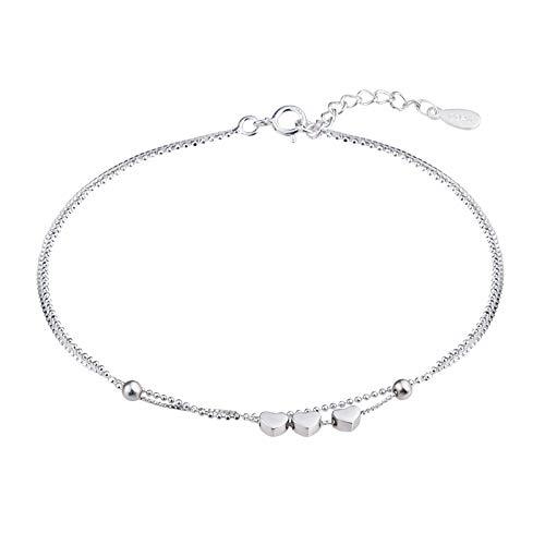 Beydodo Fuss Kette Damen Echt Silber 925 Doppelkette Herz Fußkette Strand Ketten Silber