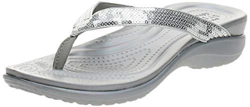 Crocs Capri V Sequin Flip, Damen Zehentrenner, Silber (Silver), 39/40 EU