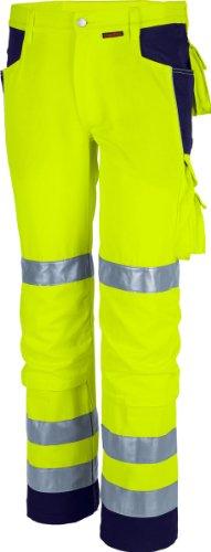 Qualitex Warnschutz-Bund-Hose Arbeits-Hose PRO MG 245 - gelb/marine - Größe: 28