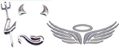 『MIAOKASI 立体 3D 小悪魔 & 天使の翼 エンブレム ステッカー シルバー 銀 デビル エンジェルウィング シールセット』のトップ画像