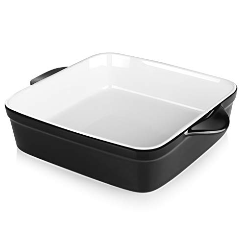 Sweese 514.112 Porcelain Baking Dish, 8 x 8 inch Baker, Square Brownie Pan with Double Handle, Black