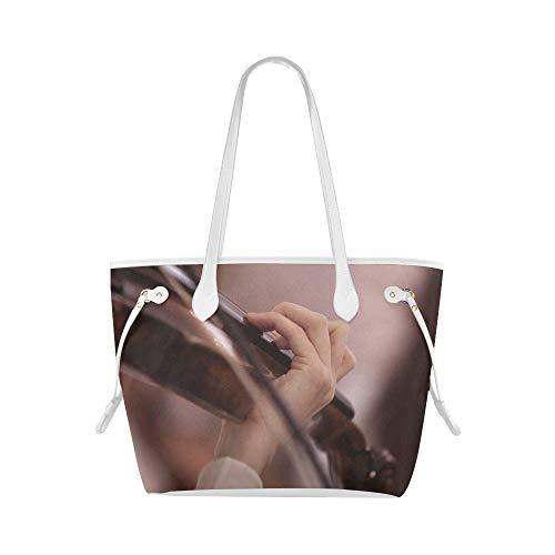 LONGYUU Handgepäcktaschen Liebe Musik Geige Spielkunst Universal Umhängetasche Handgepäck Umhängetasche Große Kapazität Wasserdicht Mit Haltbarem Griff
