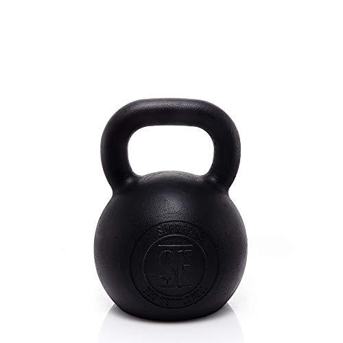 Suprfit Econ Kettlebell | Ghiria | Peso: 40 kg | per Gli allenamenti di Cross Training, Sollevamento Pesi o Body Building | in ghisa | Ideale per Esercizi di tirata, girata e Spinta | Nero smaltato