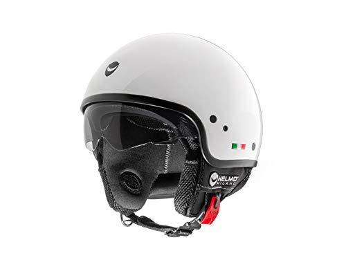 Casco Helmo Milano Demi Jet Puro Slider (L, blanco perla)