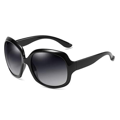 GUANGE Gafas de sol para mujer, de gran tamaño, polarizadas, protección UV400, gafas de sol para mujer, de gran tamaño, de moda, para conducir, regalos para damas, color negro