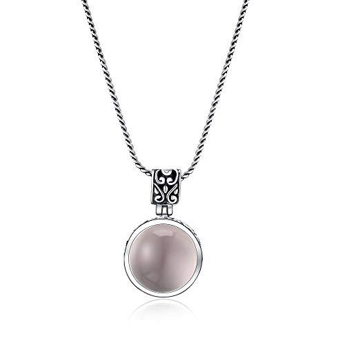 N/A Halskette S925 Silber Eingelegt Natürlichen Hibiskus Pulver Kristall Anhänger Thai Silber Silber Schmuck Damen Pullover Kette Hals Anhänger