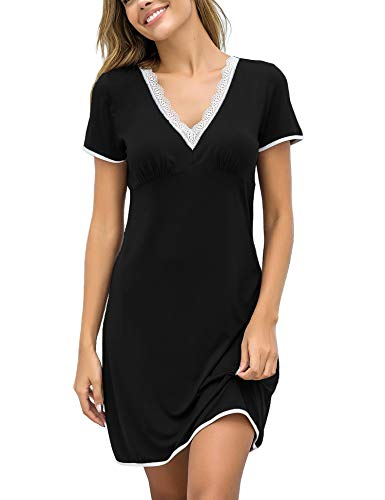 Ekouaer Sleepshirt Womens Sexy Nightgowns Cotton Sleep Shirt Dress Short Sleeve Sleepwear Lace Lounger Black XL