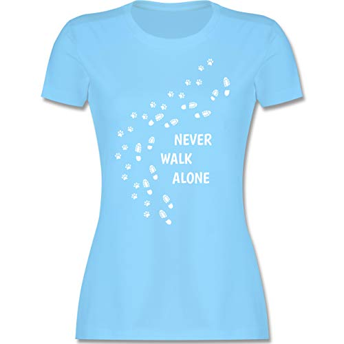 Hunde - Never Walk Alone Pfotenabdrücke - M - Hellblau - Shirt Dog Damen - L191 - Tailliertes Tshirt für Damen und Frauen T-Shirt