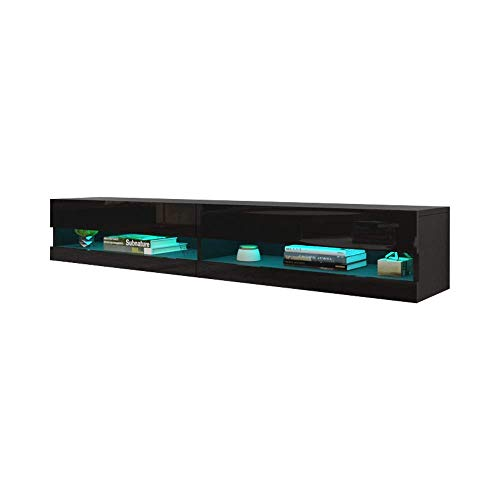 MEBLE FURNITURE & RUGS Vigo New 180 LED Wall Mounted 71' Floating TV Stand...