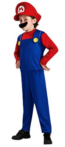 Riekinc Super Costume Kids Brothers Classic Halloween Cosplay Costume Kids Medium Red/Blue