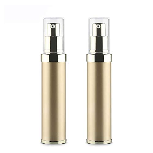 bubussv (2 Stück) 30 ml Leer Gold Airless Bottle Kunststoff Vakuum Tragbare Drücken Kosmetische Lotionsflaschen für Travel Augencreme Cremes Lotion Shampoos Flüssigseifen usw