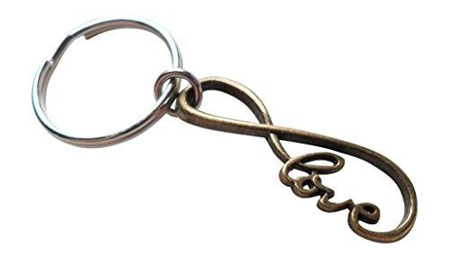 JewelryEveryday Bronze Unendlichkeits-Liebes-Symbol Keychain - Sie und ich für Unendlichkeit; 8-jähriges Jubiläum Geschenk, Paare Schlüsselbund