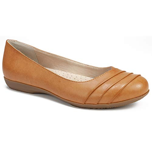 CLIFFS BY WHITE MOUNTAIN Shoes Clara Women's Flat, TAN/Burnished/Smooth, 7H M