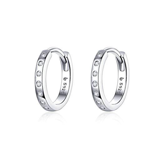 Clips de oído redondos S925 hombres mujeres platino plateado Zircon pendientes para boda