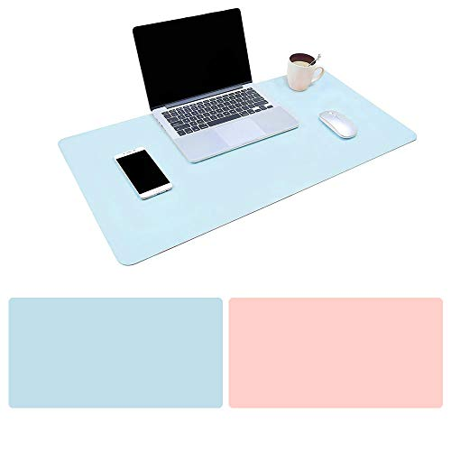 Mouse Pad Large Size 31.4 x 15.7 inch Double Sided Color Desk Pad with PU Leather XXL Mousepad for Laptops/Computers Work Gaming Office Home (Sky Blue/Pink)