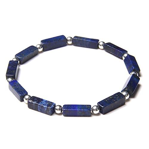 XIAOMAI Pulsera de Cuentas de Piedra de lapislázuli Azul Natural de Tubo Cuadrado, Pulsera de Bola Redonda de Color Plateado pequeño, joyería de energía para Hombres y Mujeres