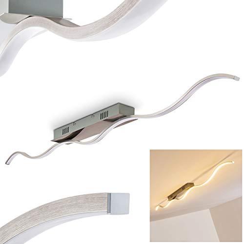 Plafonnier intérieur LED TROPEA au design moderne – Lustre salon design en forme de vague avec armature en métal finition acier brossé – Lampe de plafond élégante pour pièce à vivre, salon, cuisine