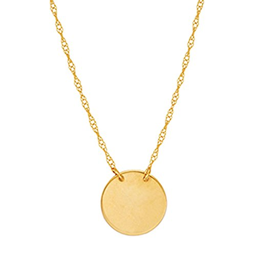 Ritastephens 14k Yellow Gold Mini Disc Pendant Adjustable Chain Necklace 16-18 Inches