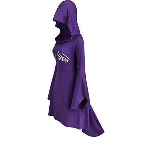 Vestido Midi Esqueleto Impresión Halloween con Capucha Mujeres Moda 2019 Manga Larga Cordón Arriba Falda