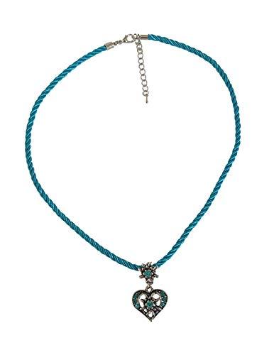 Sonnenscheinschuhe® Kette Edelweiss Herz Türkis Kordel Trachtenkette Halskette Anhänger Oktoberfest Dirndl Schmuck