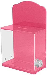 MCB Locked Donation Box with Back Wall Curved Display Area - for Fundraising Donation Box - Ticket Box (Pink)