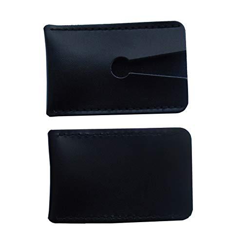 2 pièces en cuir véritable Double bord rasoir manche de la tête étui de protection pour s'adapter à la plupart des têtes de rasoir de sécurité idéal pour voyager barbiers professionnels (Noir)