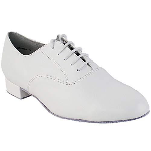 "Mens Ballroom Dance Shoes Standard & Smooth Tango Wedding Salsa Shoes White Leather 919101EB Comfortable - Very Fine 1"" Heel 9 M US [Bundle of 5]"