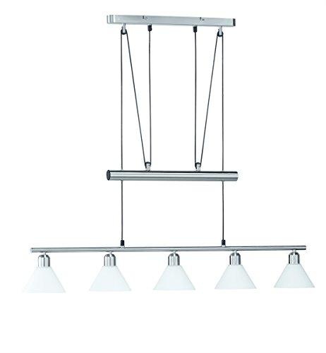 LED Pendelleuchte 5x4W hell höhenverstellbar 80-180 cm London 2700k 96cm nickel matt/Glas weiß 20 Watt