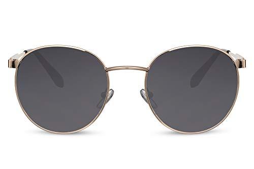 Cheapass Sunglasses Gafas de sol grandes y redondas de Metálicas dorado para festivales con lentes oscuros para hombre y mujer